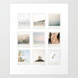 Instant film photo collage | Beach photography retro vintage look Art Print