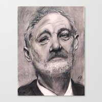 bill murray Canvas Prints featuring Bill Murray by Joe Humphrey