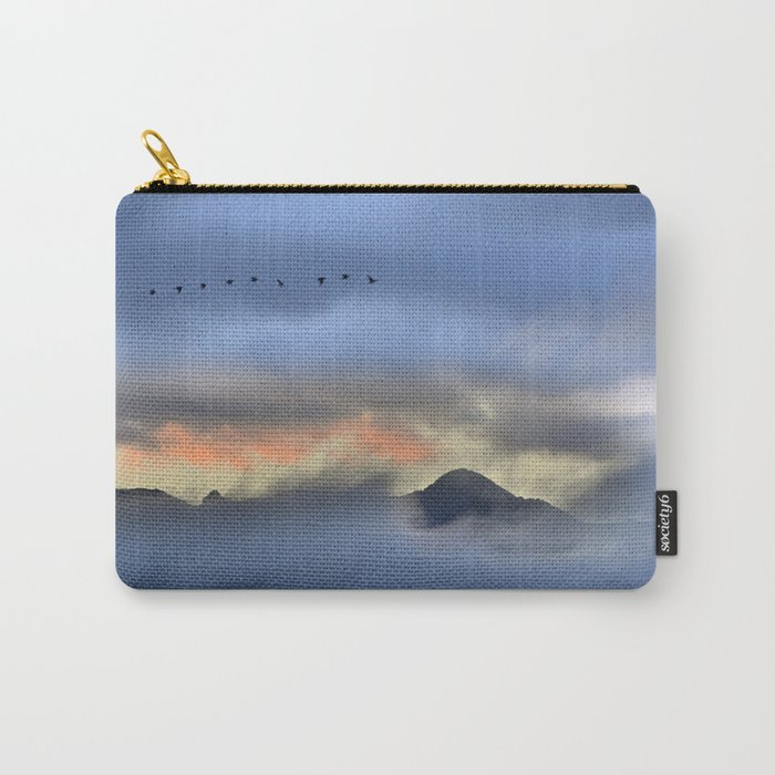 """""""Sunrise at the mountains"""". Birds in the morning. Carry-All Pouch"""