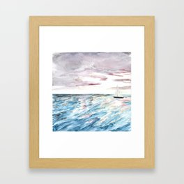 Sailboat at Sunset Watercolor Art, Ocean Waves, Anne Hockenberry Framed Art Print