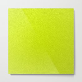 Lime green leather texture Metal Print