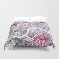 london map Duvet Covers featuring London map by MapMapMaps.Watercolors