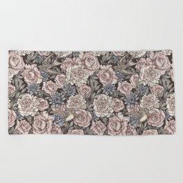 Flowers & Swallows Beach Towel