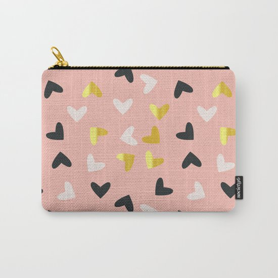 Heart pattern gold and rose Carry-All Pouch