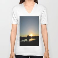 farm V-neck T-shirts featuring Farm Sunset by I AmErika