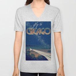 Fly to Chicago Unisex V-Neck