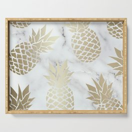 Tropical Pineapple, Marble and Gold Abstract Pattern Serving Tray