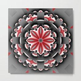 Floral pattern mandala in red, black and grey tones Metal Print