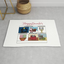 Happy December Holiday Christmas, Hanukkah, Kwanzaa, Boxing Day, St Nicholas Day Design Rug