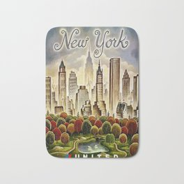 Vintage New York Central Park United Airlines Advertisement Poster Bath Mat