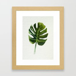 Monstera Leaf Oil Painting Framed Art Print
