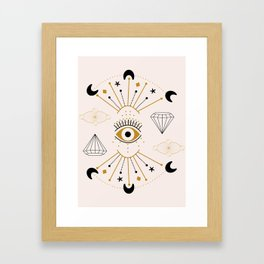 Vector eye and celestial elements in a geometric composition Framed Art Print