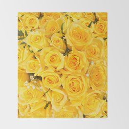 YELLOW ROSES CLUSTERED Throw Blanket