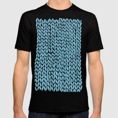 Hand Knit Sky Blue MEDIUM Black Mens Fitted Tee