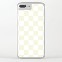 Checkered - White and Beige Clear iPhone Case