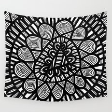 Black and White Doodle 7 Wall Tapestry