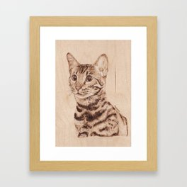 Bengal Cat Portrait - Drawing by Burning on Wood - Pyrography art Framed Art Print