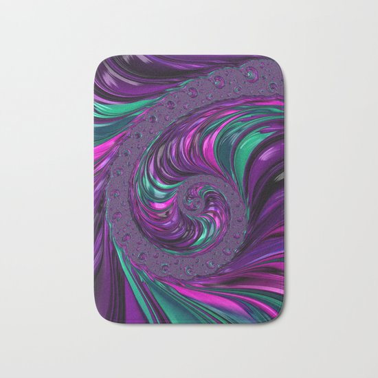 Jewel Tone Fractal Spiral Bath Mat