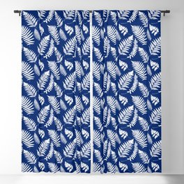Woodland Fern Pattern, Cobalt Blue and White Blackout Curtain