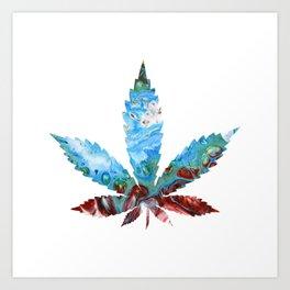 Blue Dream (Cannabis Marijuana Leaf) Art Print