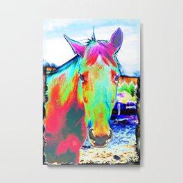 NEON HORSE Metal Print