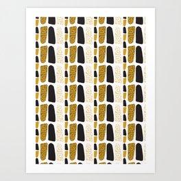 Yellow and Black Abstract Drawn Cryptic Symbols Art Print