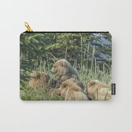 Triplet Bear Cubs Nursing, No. 3 Carry-All Pouch