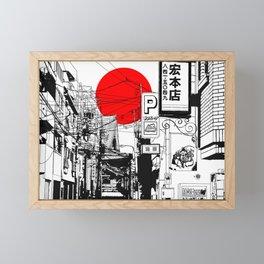 Tokyo street sunrise Framed Mini Art Print