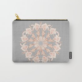 Rose Gold Gray Lilies Mandala Carry-All Pouch