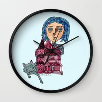 coraline Wall Clocks featuring Coraline and Kitty by Kassia M. K.