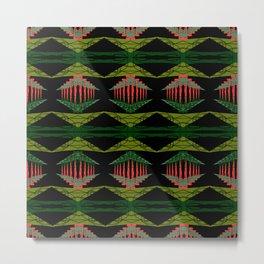 Tropical Aztec Retro Pattern by artestreestudio Metal Print