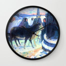 Gauguin Christmas Night Wall Clock