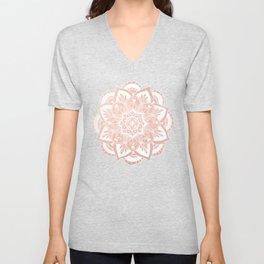 Flower Mandala on Rose Gold Unisex V-Neck
