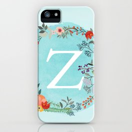 Personalized Monogram Initial Letter Z Blue Watercolor Flower Wreath Artwork iPhone Case