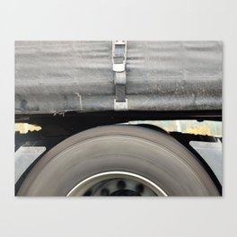 HGVs rear wheel running on motorway Canvas Print