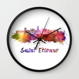 Saint Etienne skyline in watercolor Wall Clock