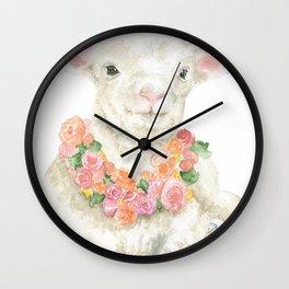 Baby Lamb Floral Watercolor Farm Animal Wall Clock