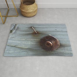 Rusty Nail, Washer and Screw in Wood Rug