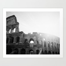 Roman Colosseum Black and White Art Print