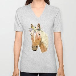 Horse with flower crown Unisex V-Neck