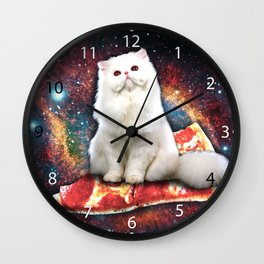 Space cat pizza Wall Clock