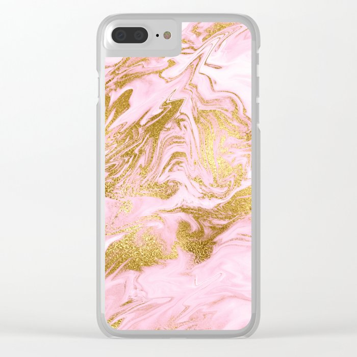 Rose Gold Mermaid Marble Clear iPhone Case