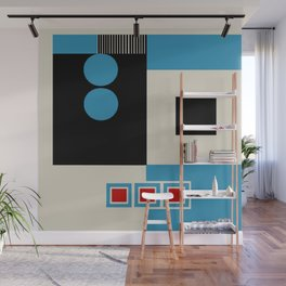 Abstract in Blue, Black, Red and Beige. See Companion Piece Wall Mural
