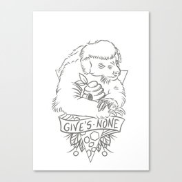 honey badger in grey Canvas Print
