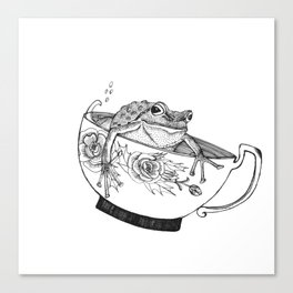 Pacific Northwest Tree Frog Riding in a China Teacup Canvas Print