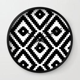 Monochrome Ikat Diamond Pattern Wall Clock