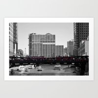 blackhawks Art Prints featuring Chicago Blackhawks 2013 Championship Parade Route by Michael A. Hubatch
