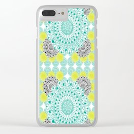 Mint,Yellow, and Black Mandala Pattern Clear iPhone Case