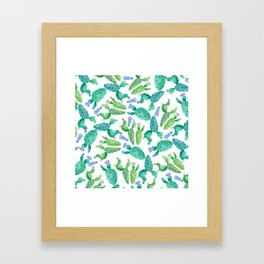 Watercolor hand painted violet green cactus floral Framed Art Print