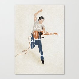 Typography Art of Boss of the Rock Bruce Frederick Springsteen Canvas Print